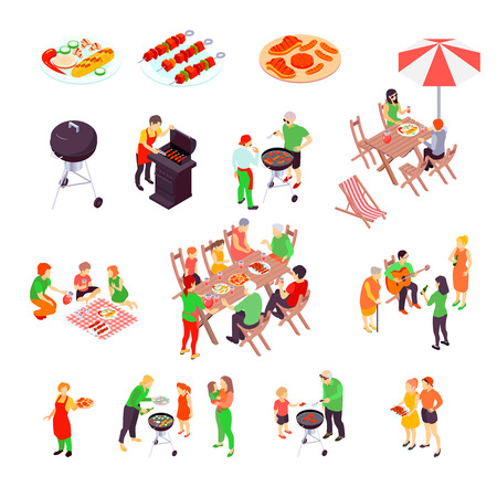 Family barbecue picnic isometric icons set with pizza  bbq charcoal grill and beef kebab skewers isolated vector illustration Illustration