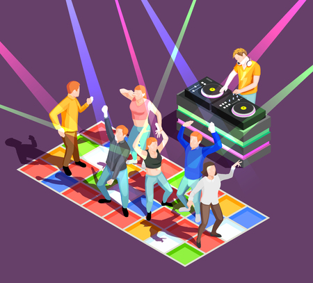 Party people dancing on colorful floor at disco 3d isometric vector illustration