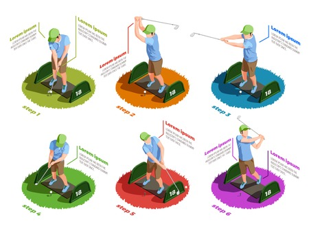 Golf colored isometric icons set of male players in different poses dealing putt with putters isolated vector illustration Illustration