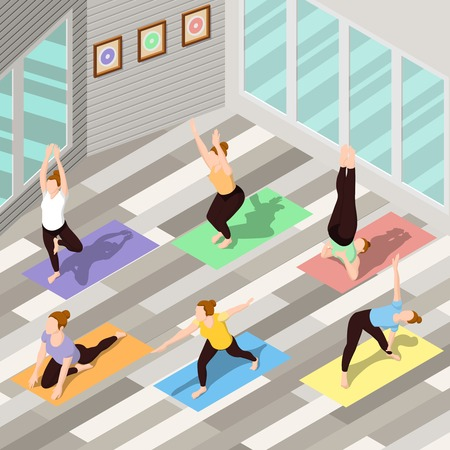 People doing yoga on colorful carpets