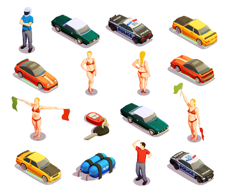 Street racing drift isometric icons set of isolated high-powered and police cars with human characters vector illustration Ilustração