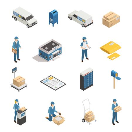 郵便配達サービスアイソメアイコンは、郵便局の区画郵便番号とポストオフィスボックスに設定されています分離ベクトルイラスト  イラスト・ベクター素材
