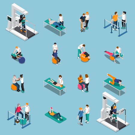 Aislado rehabilitación de fisioterapia icono de personas isométricas conjunto con los pacientes en la cita del médico ilustración vectorial Ilustración de vector