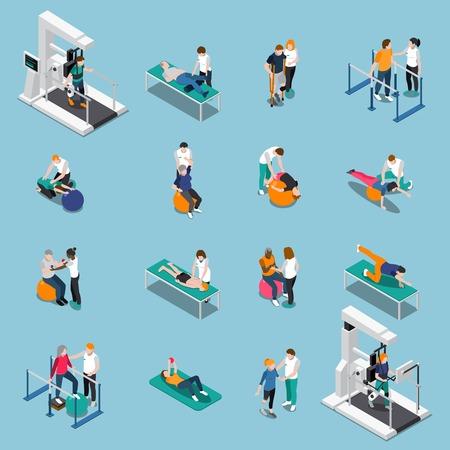 Aislado rehabilitación de fisioterapia icono de personas isométricas conjunto con los pacientes en la cita del médico ilustración vectorial Foto de archivo - 85870275