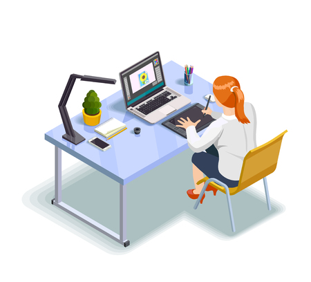 Female graphic designer working at her project 3d isometric vector illustration Vectores