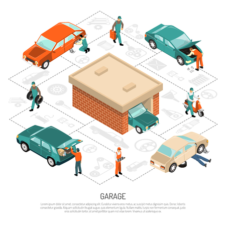 gears: Garage and vehicles isometric composition with car repair, man with scooter, tyres on white background vector illustration