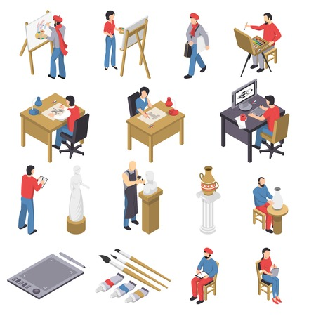Isometric set of artists with accessories near easels, sculpture, pottery, behind table and computer isolated vector illustration Illustration