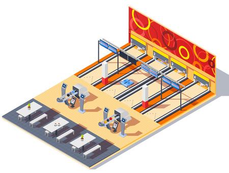 ボウリングセンター等のゲーム機器とのリターンシステムでボールを含む、訪問者のためのテーブルベクトルイラスト