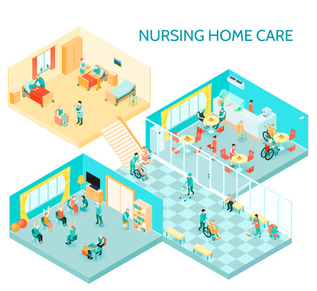 Nursing home care facility isometric composition with hall daily activities communication room canteen and bedroom vector illustration Illustration