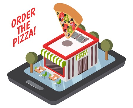 Online pizzeria isometric composition including restaurant building with street tables, trees on mobile device screen vector illustration