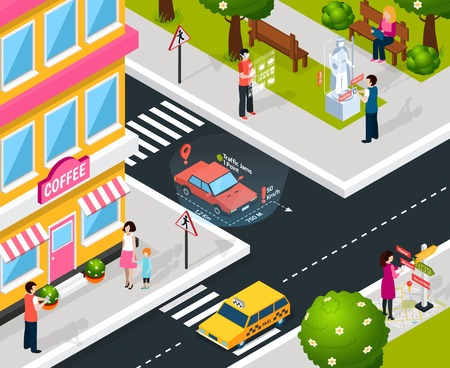 mobile device: Isometric colored virtual augmented reality city composition with smart maps in smartphones and navigations in tablets vector illustration