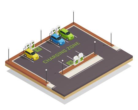 Ecologie gebaseerde economie groene energie schoon vervoer isometrische samenstelling poster met elektrische voertuigen laadstation vectorillustratie