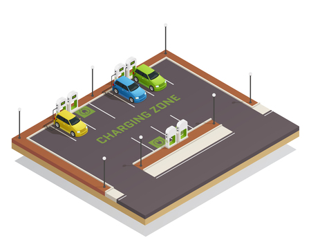 Ecology based economy green energy clean transportation isometric composition poster with electric vehicles charging station vector illustration