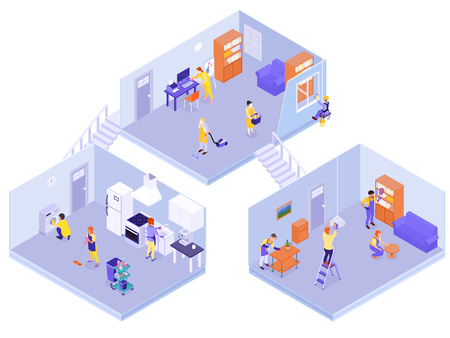 Interior home professional cleaning team service isometric composition with floors washed disinfected carpets rugs vacuumed vector illustration Illustration