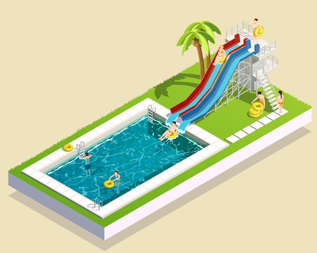 Water park isometric composition of images aquatic facility images swimming pool waterslide palm and human characters vector illustration Illustration