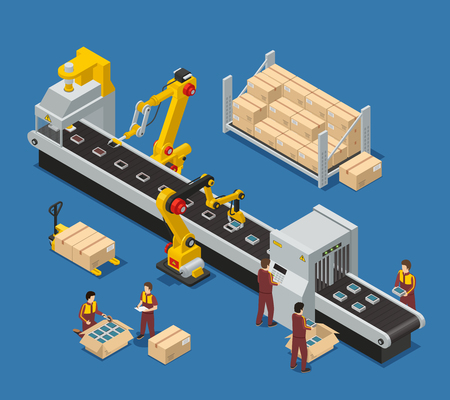 Electronics factory isometric composition with engineer monitoring robotic conveyor and workers stacking production into boxes vector illustration