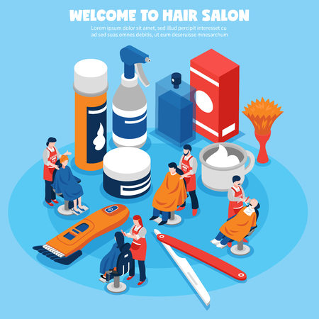 grooming: Colorful isometric concept with barbershop hairdressers their clients and equipment on blue background 3d vector illustration