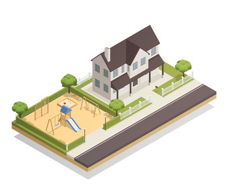 Kinderenspeelplaats met schommeling, dia, zandbak, banken dichtbij woonhuis met de groene vectorillustratie van de bomen isometrische samenstelling