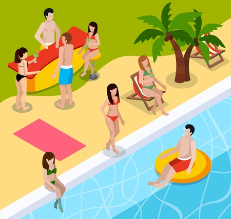 Colored pool rest isometric composition with people swim in pool at aqua park vector illustration