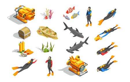 Scuba diving snorkelling isometric icons with isolated human characters wet suit equipment bathyscaph and  ground objects vector illustration Illustration