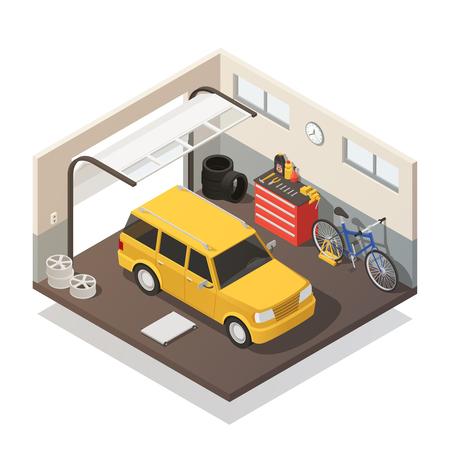 노란색 스테이션 왜건 및 자동차 수리 및 유지 관리 차고 서비스 아이소 메트릭 인테리어보기 벡터 일러스트에서 자전거