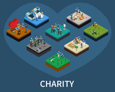 Ensemble d'isométrie bénévoles et organisations caritatives liées compositions illustration vectorielle isolé