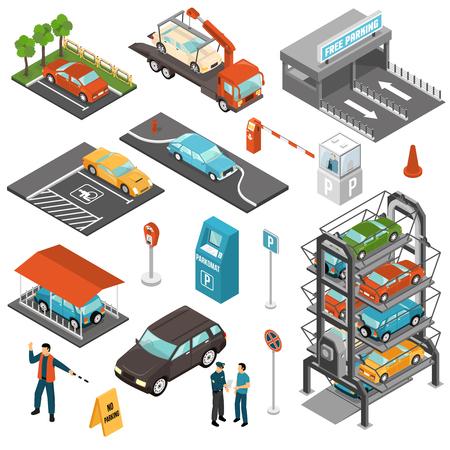 Gekleurd isometrisch die pictogram van het autoparkeren met verschillende soorten parkeren en betalingsterminals vectorillustratie wordt geplaatst