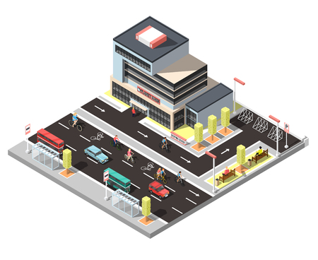 City constructor isometric fragment with modern town building stop for urban transport car and bicycle traffic vector illustration