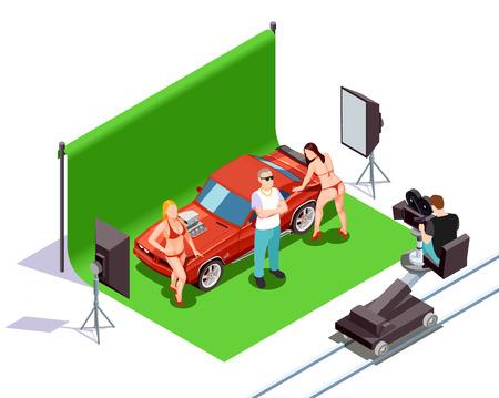 Exploitant schietende scène met man en twee vrouwen in bikini die zich dichtbij rode automobiele 3d isometrische vectorillustratie bevinden