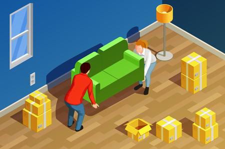 새로운 거주 룸 인테리어 판지 상자와 부부 문자 이동 소파 벡터 일러스트와 함께 사람이 아이소 메트릭 컴포지션 이동