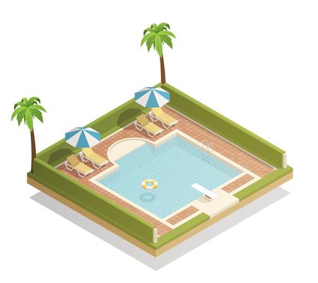 Piscina al aire libre en el centro turístico tropical con palmeras sillones y trampolín composición isométrica tabla ilustración vectorial