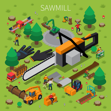 Sawmill timber mill lumberjack isometric composition