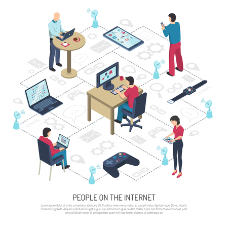 mobile communication: People with electronic devices on internet, satellite dishes with wifi on white background isometric vector illustration