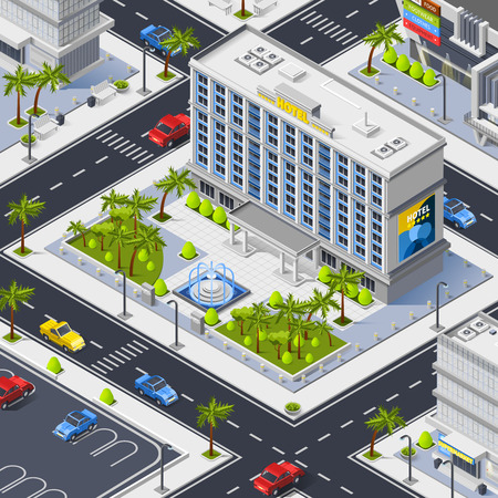 Fragment of city top view with streets luxury hotel building and car parking isometric vector illustration Illustration