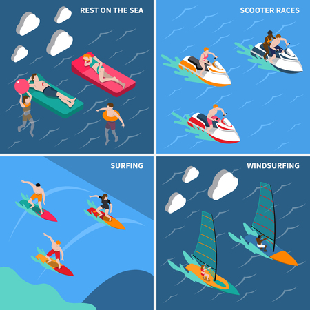 Four squares water sports isometric people icon set with rest on the sea scooter races surfing and windsurfing descriptions vector illustration Illustration