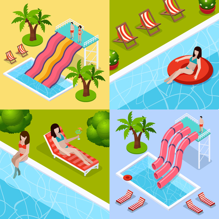 Four square water park aquapark isometric icon set with different types of waterslides vector illustration Stock Vector - 86092945