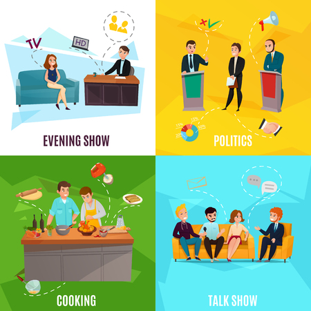 Participants in cooking evening and political talk shows 2x2 design concept isolated on colorful backgrounds cartoon vector illustration