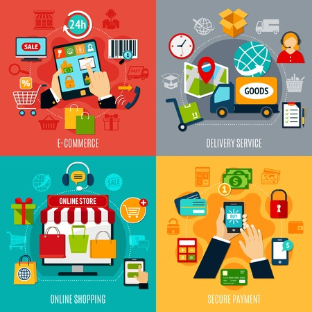 mobile device: E-commerce flat design concept with delivery service, online shopping, secure payment, electronic technologies isolated vector illustration