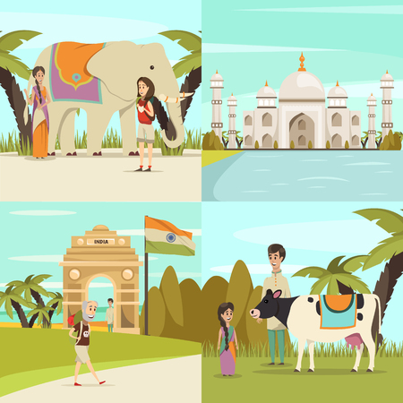 India 2x2 design concept set of gateway taj mahal mausoleum locals with sacred animal cow and symbol of prosperity elephant signs flat vector illustration Stock Vector - 86092955