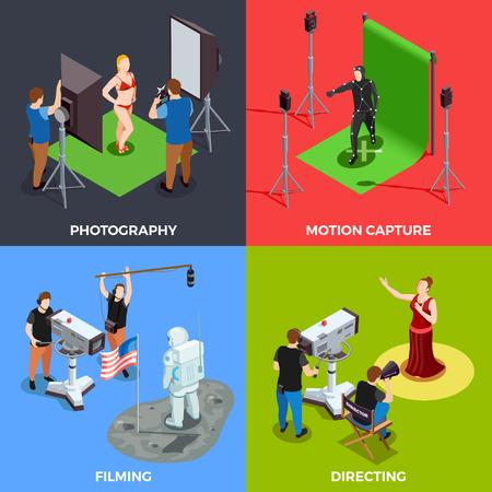 カメラマン演算子監督とカラフルな背景 3 d ベクター イラストを分離した俳優の作業工程と等尺性シネマト グラフ 2 x 2 デザイン コンセプト  イラスト・ベクター素材