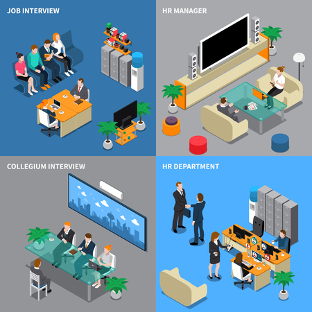 Four squares recruitment hiring HR management isometric people icon set with job interview hr manager hr department descriptions vector illustration