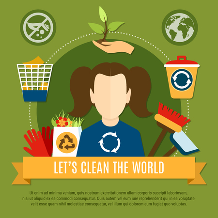 Garbage composition of flat waste recycling conceptual icons pictograms and faceless charwoman character with editable text. Ilustracja