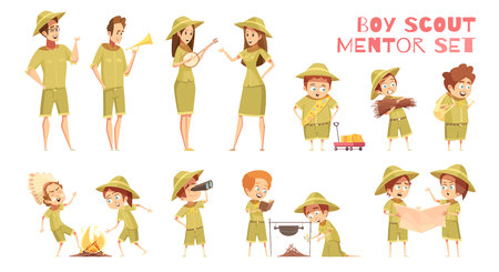 Mentors guiding boy scouts orienteering with map outdoor camp activities retro cartoon icons series isolated. Vectores