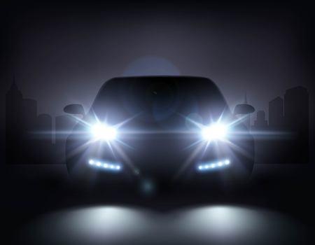 Luces de coche realista composición de la noche paisaje urbano y elegante silueta de automóvil con faros y sombras ilustración vectorial Ilustración de vector