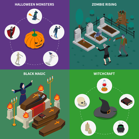 Isometric monster halloween icon set with zombie rising black magic witchcraft descriptions vector illustration Illustration