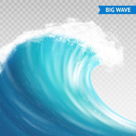 Gran mar o océano ola con spray, espuma en la cresta y la reflexión sobre fondo transparente ilustración vectorial