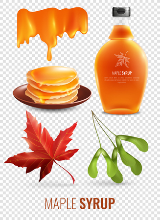 Maple syrup isolated elements set on transparent background with red maple leaf pancakes and branded glass bottle.