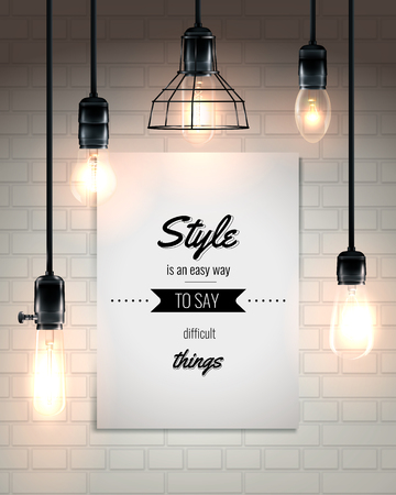 Hanging lamps and quote at white placard on brick wall background poster in loft style vector illustration Иллюстрация
