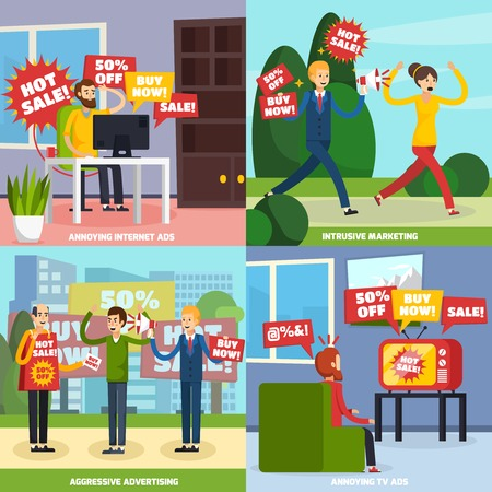 Four square annoying intrusive advertisement icon set with internet ads intrusive marketing aggressive advertise and annoying tv ads descriptions vector illustration Illustration