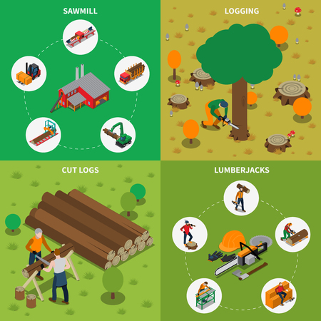 Four square sawmill timber mill lumberjack isometric compositions with sawmill logging cut logs and lumberjacks descriptions vector illustration